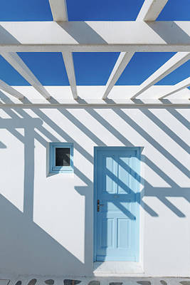 Photograph - Shadow On Traditional Greek House by Deimagine