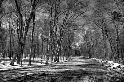 Snow Scenes Photograph - Shadow Play On Rondaxe Road by David Patterson