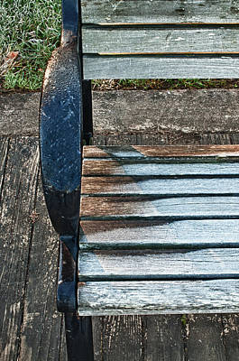 Art Print featuring the photograph Shadow Protecting Frost On Bench by Gary Slawsky