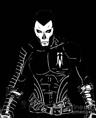 Justin Moore Drawing - Shadowman Black by Justin Moore