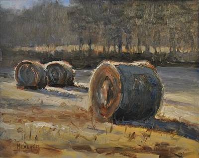 Hay Bales Painting - Shadows Across The Field by Spencer Meagher