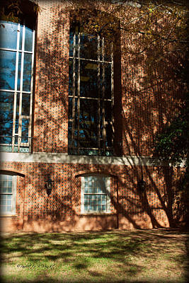 Photograph - Shadows Across The Library - Davidson College by Paulette B Wright