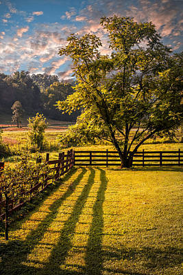 Shadows Along The Fence Art Print by Debra and Dave Vanderlaan