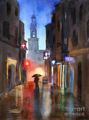 Old Street Painting - Shadows In The Rain  by Mohamed Hirji