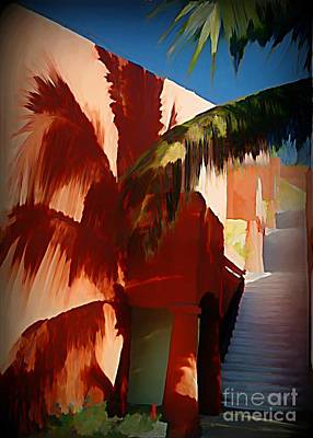 Caribbean Abstract Painting - Shadows Of Palm Leaves by John Malone