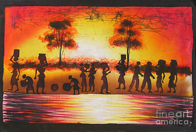 African Village Scene Painting - Shadows Of Unity by Peter Mkoweka
