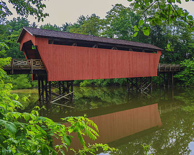 Shaeffer Or Campbell Covered Bridge Art Print by Jack R Perry