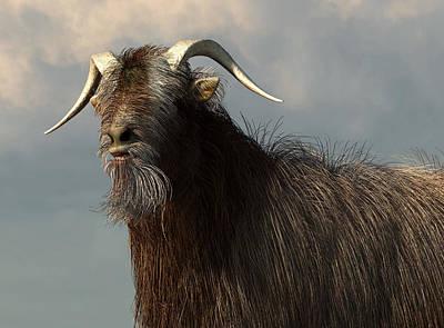 Goat Digital Art - Shaggy Goat Closeup by Daniel Eskridge