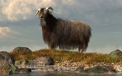 Farm Scene Digital Art - Shaggy Goat by Daniel Eskridge