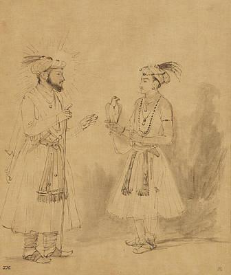 Wash Drawing - Shah Jahan And Dara Shikoh Rembrandt Harmensz by Litz Collection