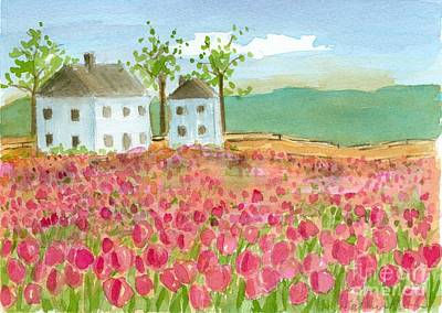 Painting - Shaker House Tulip Field  by Cathie Richardson