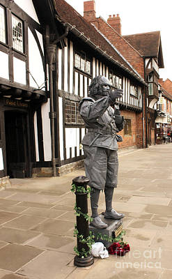Photograph - Shakespeare Outside Stratford Upon Avon Library by Terri Waters
