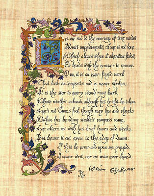 Papyrus Painting - Shakespeare's Sonnet 116 by Kyla Ryan