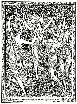 Aged Wood Drawing - Shakespeare's Tempest Illustration Engraving by
