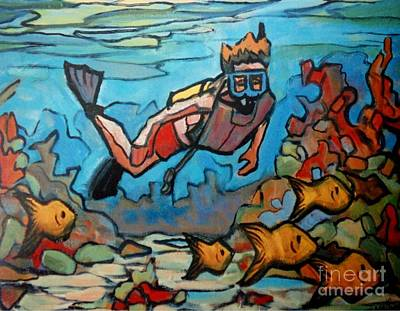 Water Sports Poster Painting - Shallow Reef by John Malone