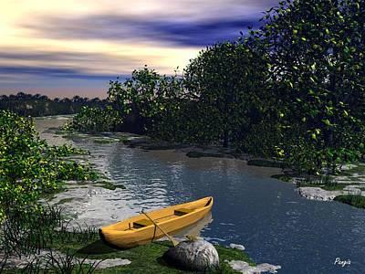 Canoe Digital Art - Shallow River by John Pangia