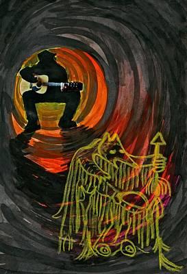 Contemporary Native Art Mixed Media - Shaman Blues by Rufus Wilson