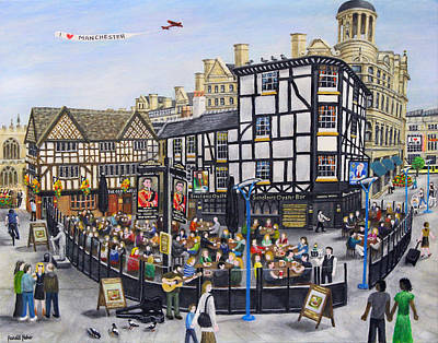 Wellington Street Painting - Shambles Square - Manchester by Ronald Haber