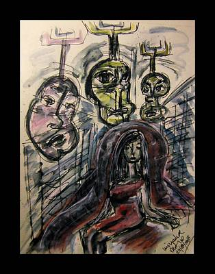 Doubting Drawing - Shame Doubt Insecurity Our Own Worst Enemies by Mimulux patricia no No