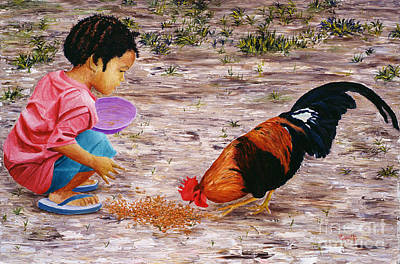 Feeding Young Painting - Shamika by Victor Collector