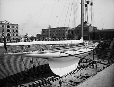 Shamrock 3 In Dry Dock 1903 Art Print by Steve K