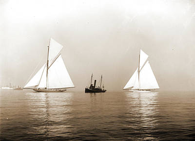 Fog Drawing - Shamrock I And Columbia, Becalmed In Fog, Shamrock I Yacht by Litz Collection