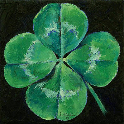 Four Leaf Clover Painting - Shamrock by Michael Creese