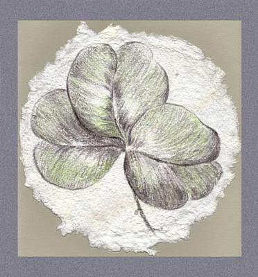 Drawing - Shamrock On Handmade Paper by MM Anderson