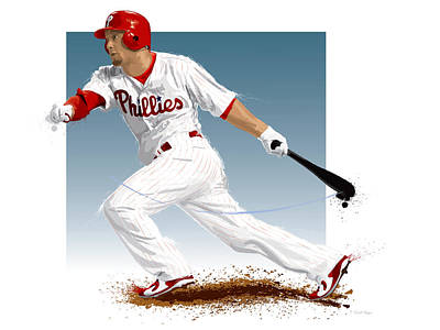 Phillies Digital Art - Shane Victorino by Scott Weigner