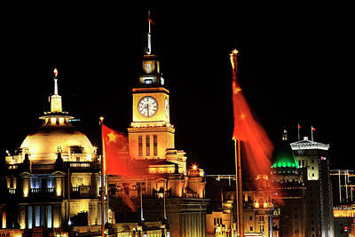 Bund Photograph - Shanghai, China Bund At Night Clock by William Perry