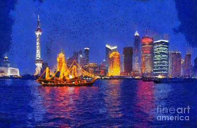 Painting - Shanghai During Dusk Time by George Atsametakis