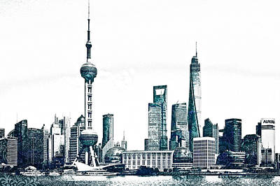 Skylines Drawings - Shanghai Skyline by Celestial Images