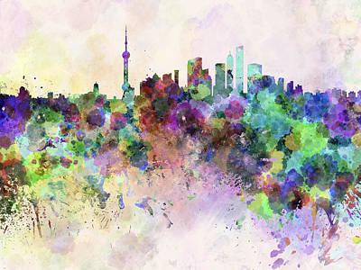 Splatter Digital Art - Shanghai Skyline In Watercolor Background by Pablo Romero