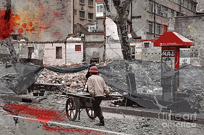 French Street Scene Digital Art - Shanghai Street Creation by Delphimages Photo Creations