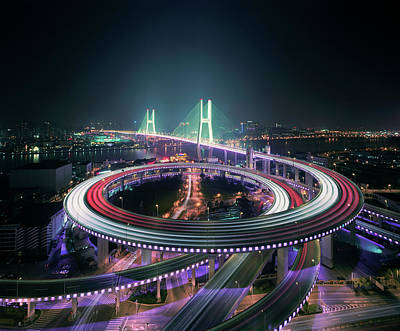 Photograph - Shanghais Nanpu Bridge Illuminated At by Martin Puddy