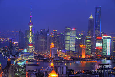 Tall Photograph - Shanghai's Skyline by Lars Ruecker