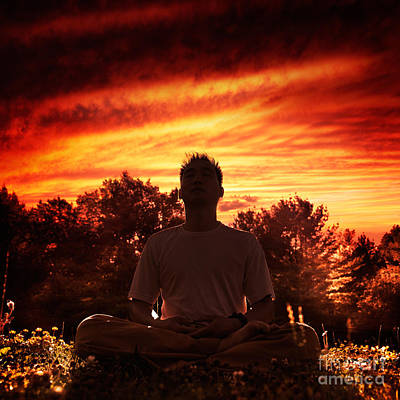 Shaolin Kung Fu Instructor Meditating In The Nature During Sunri Art Print