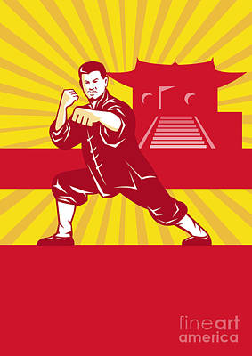 Shaolin Kung Fu Martial Arts Master Retro Art Print