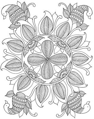 Fun Flowers Drawing - Shape Pattern 12 by Neeti Goswami