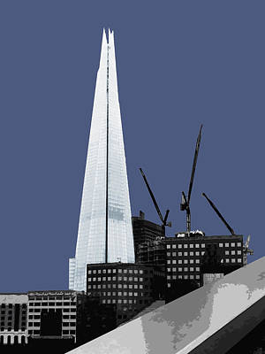 Architecture Mixed Media - Shard - New Blue by Big Fat Arts
