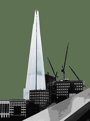 Cities Mixed Media - Shard - Olive Green by Big Fat Arts