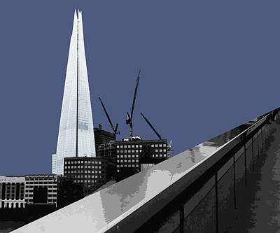 Cities Mixed Media - Shard - New Blue by Big Fat Arts