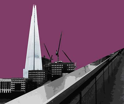 Cities Mixed Media - Shard - Purple Reign by Big Fat Arts