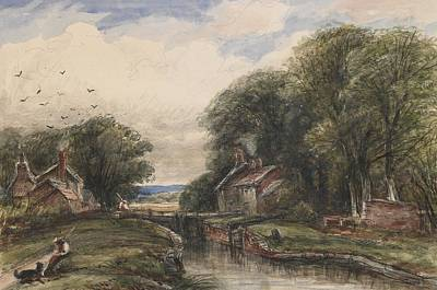Lock Painting - Shardlow Lock With The Lock Keepers Cottage by James Orrock