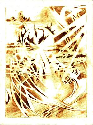Sunset Abstract Drawing - Shards Of A Sunset by Jamie Jonas
