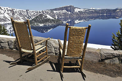 Share A Moment At Crater Lake Oregon Art Print by Clay and Gill Ross