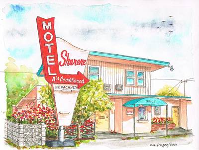San Carlos Painting - Sharene Motel In Route 66 - San Bernardino - California by Carlos G Groppa