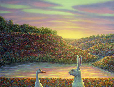 Geese Wall Art - Painting - Sharing A Moment by James W Johnson