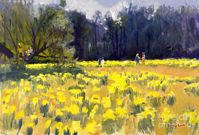 Bluffton Painting - Sharing Daffodils by Candace Lovely