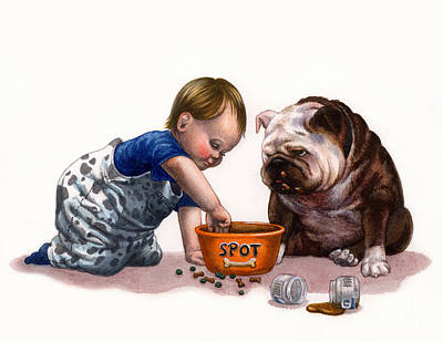 Bulldog Painting - Sharing Food by Isabella Kung